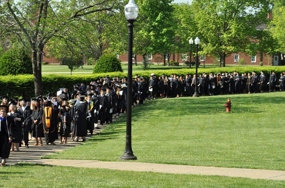 Lining up for Commencement