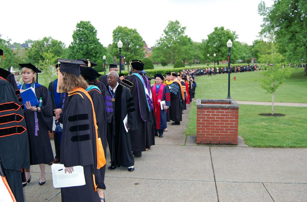 Commencement processional into Rockefeller gymnasium