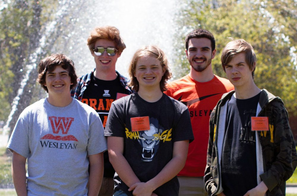 West Virginia Wesleyan's collegiate esports team from left: Abraham Blouir, Thomas Flannery, Gage Poling, William Butcher, Jacob Williamson. Not pictured: Stanley Ciciora and Brandon Cochran.