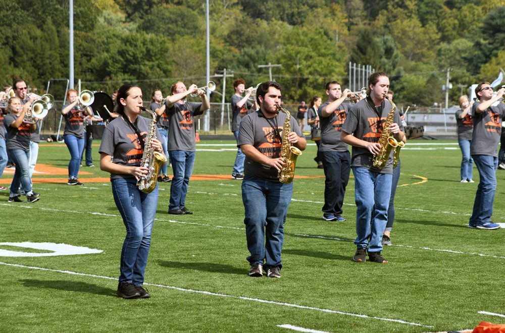 Wesleyan Marching Band performing its halftime show at Saturday's home football game