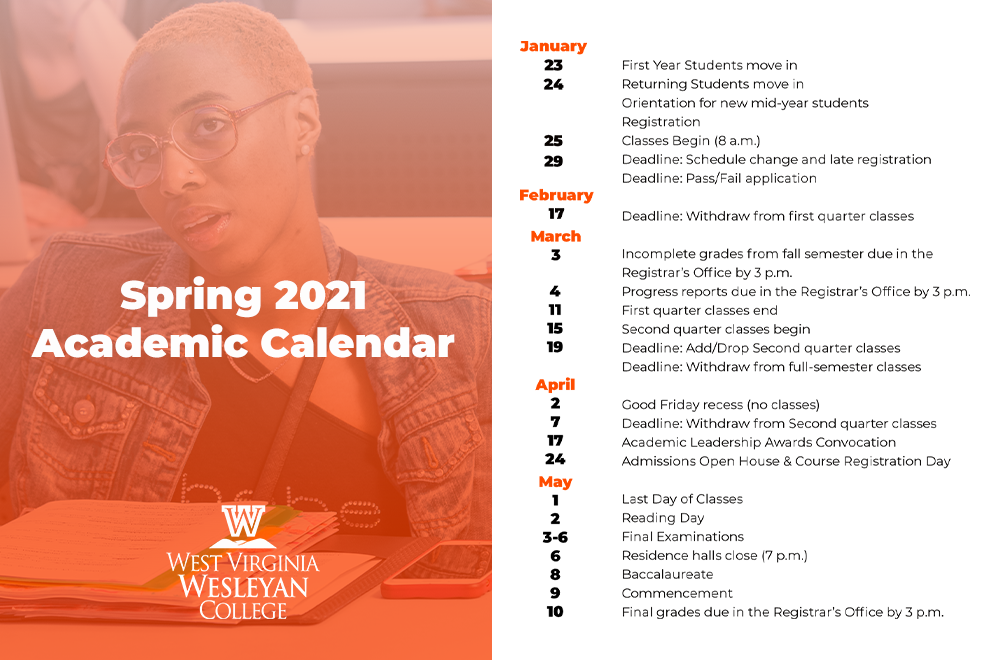 Wvu Academic Calendar Spring 2021 West Virginia Wesleyan College Announces Academic Calendar for