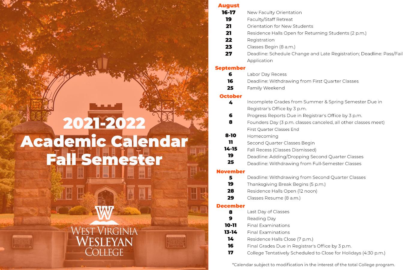 Rice Academic Calendar Spring 2022.Academic Calendar West Virginia Wesleyan College West Virginia Wesleyan College